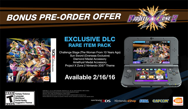Project X Zone 2 Pre Order Bonus - GameStop