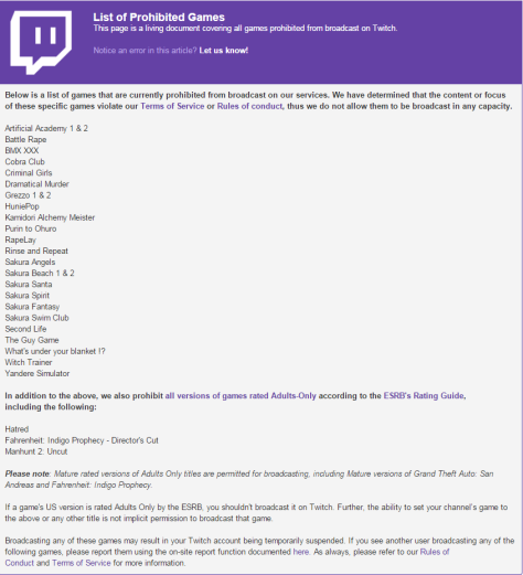 Twitch Banned Games List Jan 2016