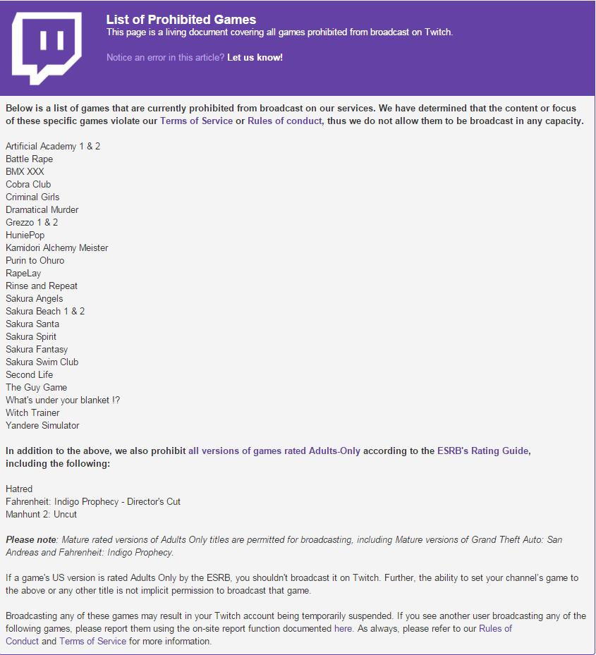 Twitch Banned Games List Jan 2016