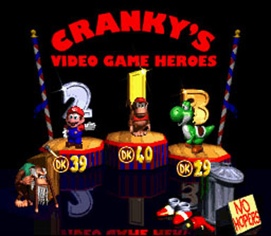 DKC2 Cranky's Video Game Heroes Screen