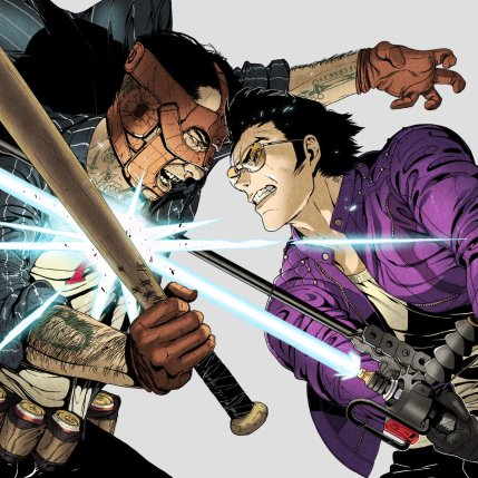 Travis Strikes Again Concept Art - Badman And Travis Clash